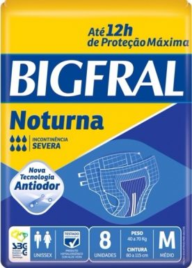 FRALDAS GERIÁTRICAS BIGFRAL NOTURNA  M 8 UNIDADES